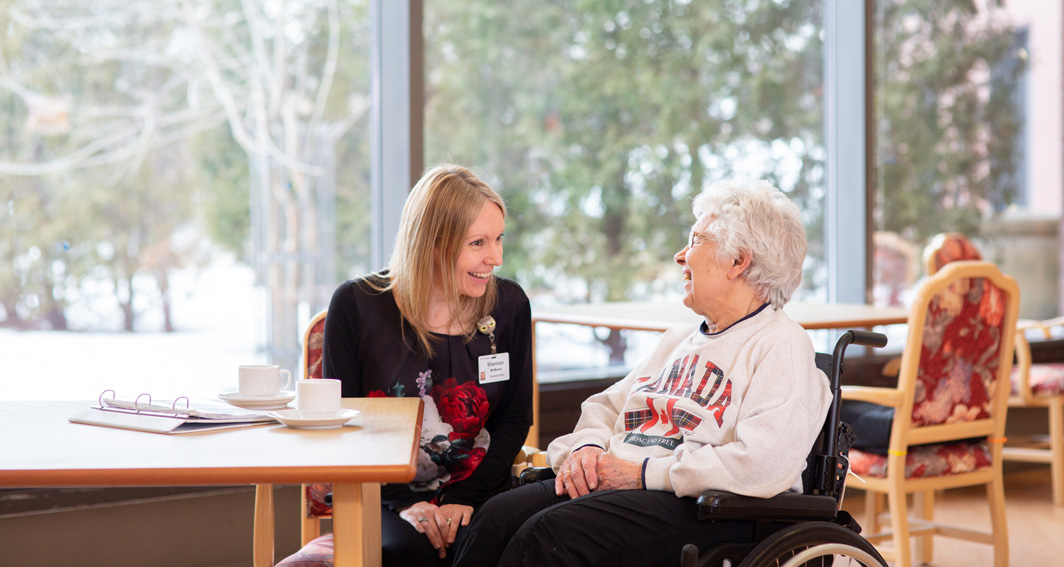 Shannon McManus, a registered dietitian in the Cardinal Ambrozic Houses of Providence, works with our long term care residents like Lisa Fitzsimmons (right) to create diet plans that fit both health challenges and personal preferences.